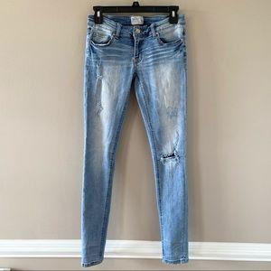 BKE Denim Stella Skinny Light Wash Distressed Skinny Jeans